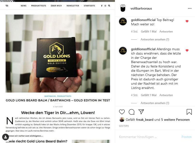 Gold Lions Beard Balm Instagram Antwort
